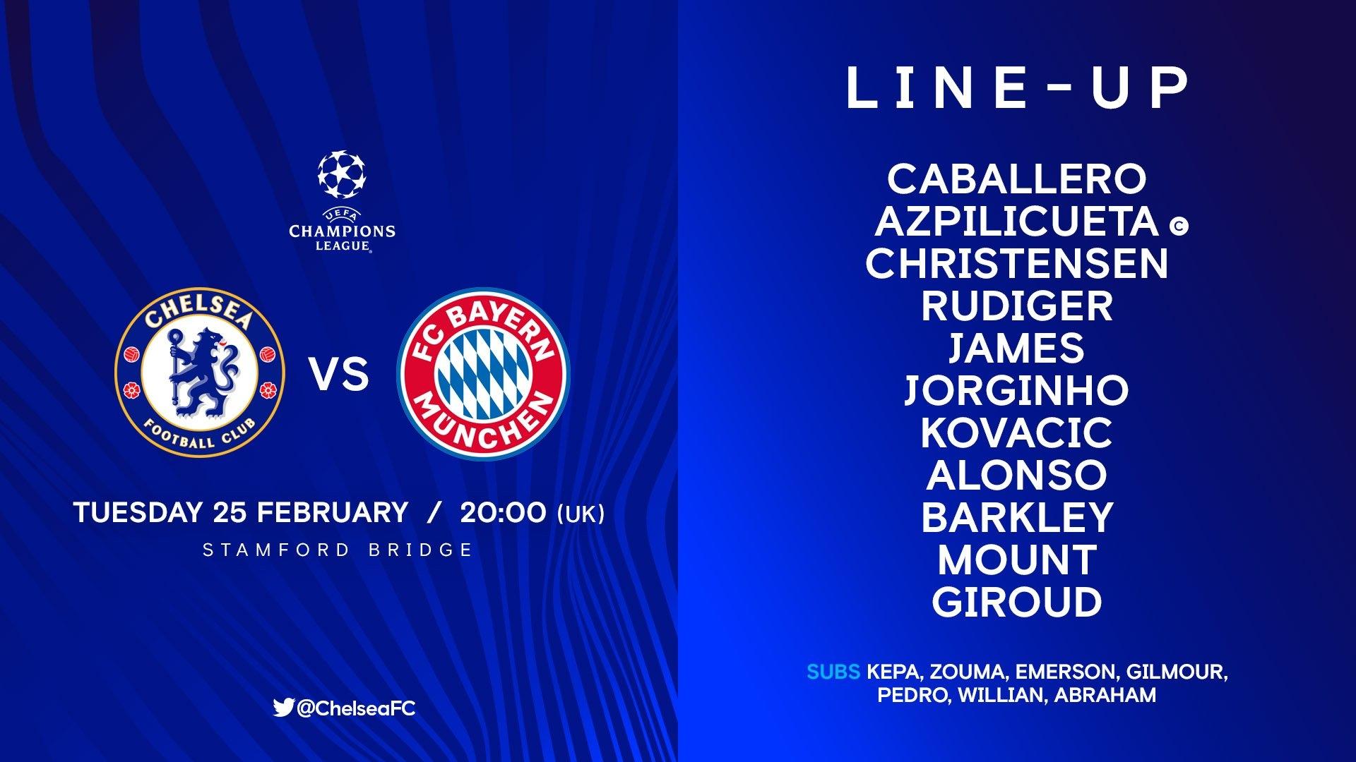 Стартовый состав «Челси» на матч против «Баварии»