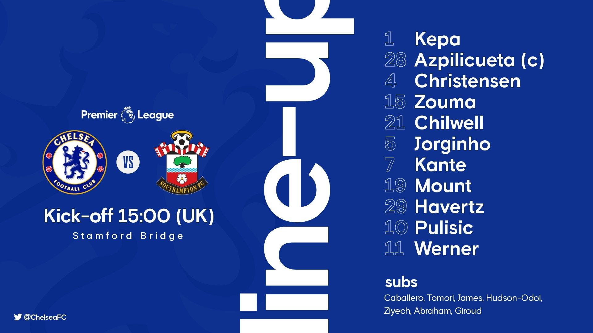 Стартовый состав «Челси» на матч против «Саутгемптона»